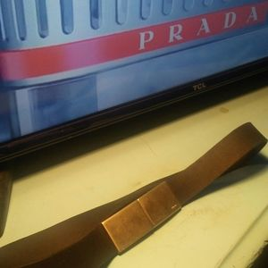 "Prada ""leather "" metal buckle snap belt ""28 in"""